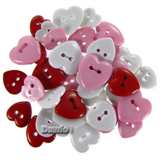Herzen rot romantisch Patchwork Scrap Bastel Knöpfe über 30 Stück je Packung